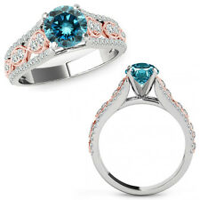 1 Ct Blue Diamond Lovely Solitaire Halo Anniversary Ring Band 14K Rose Two Gold