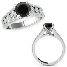 1 Ct Black Diamond Beautiful Solitaire Halo Engagement Ring Band 14K White Gold