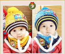 Cute Baby Kids Infant child Winter Christmas Warm Knit Hat Beanie Cap+Scarf