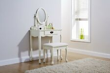 Queen Anne Dressing Table Antique Retro Shabby Chic Vintage Black Ivory Cream