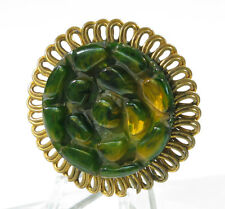 Vintage Bakelite Pin Brooch Clip deeply turtle carved Art Deco green marble