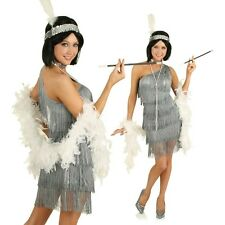 1920s Great Gatsby Flapper Costume Grey Womens Fancy Dress Outfit