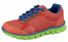 Childrens Reflex Coral/Blue/Green Lace Up Trainers H2346
