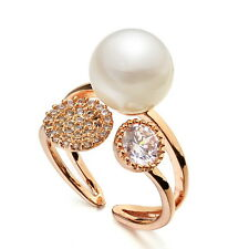 Rose Gold Filled Clear Swarovski Crystal Diamond Cute White Pearl Party Ring R44