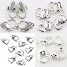 New Large Silver Plated Heart Fish Lobster Claw Clasps Pick Style 5-20PCS
