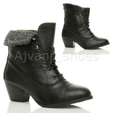 WOMENS LADIES MID CUBAN BLOCK HEEL LACE UP FUR CUFF PIXIE ANKLE BOOTS SHOES SIZE