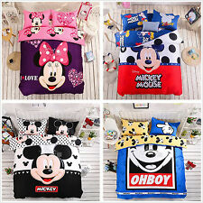 Mickey Mouse Duvet Quilt Doona Cover Set Single Queen King Size Bed Cartoon New