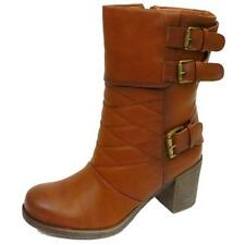 LADIES DOLCIS TAN CHUNKY HEEL MID CALF RIDING ZIP BIKER WINTER BOOTS SIZE 3-8