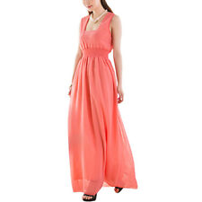 Women Square Neck Sleeveless V Back Smocked Waist Chiffon Maxi Dress