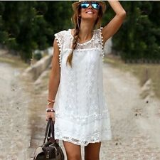 Sexy Women Lace Floral Casual Sleeveless Evening Party Cocktail Beach Mini Dress