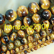 "4/6/8/10/12/14mm Natural Yellow Tiger Eye  Round Loose Beads 15"" Choose size"