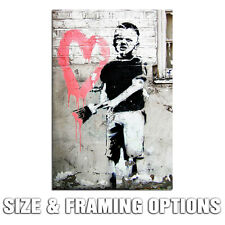 BANKSY BOY HEART MODERN URBAN GRAFFITI STREET ART HIGH QUALITY CANVAS PRINT