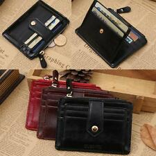 Women Mini Leather Wallet Men Zipper Credit Card ID Holder Money Clip Wallet