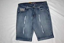 Womens 5 PKT BEERMUDA SHORTS Rhinestone Bling DESTROYED Faded SIZES 16 18 20 22