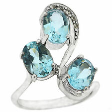 .925 Sterling Silver 4.5 Ct Natural Swiss Blue Topaz & White CZ Ring