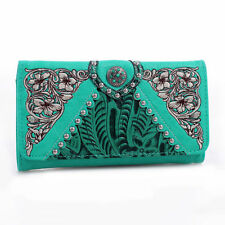 New Realtree Conch Tooled Women Tri-fold Leather Wallet Purse Checkbbok Card Bag