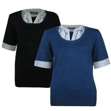 LADIES BLACK OR BLUE SMART SHORT SLEEVE MOCK SHIRT JUMPER WOMENS TOP SIZES 8-20