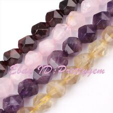 """Natural Quartz Beads 8mm Faceted Cube Square Gem Stone Spacer Loose Strand 15"""""""