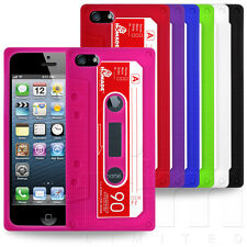 AUDIO CASSETTE TAPE STYLE SOFT SILICONE SKIN CASE COVER FOR APPLE iPHONE 5 5G