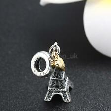 Sterling Silver .925 Charm Eiffel Tower Pendant fit European Beads Bracelet DJ3Z