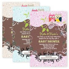 Owl Boy Girl Twin Baby Shower Owls Invitations CUSTOM Personalized Invitation