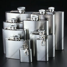 1oz To 18 oz Stainless Steel Liquor Whiskey Hip Flask Flagon w/Funnel Mens Gift