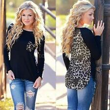 Leopard Printed Womens Long Sleeve Chiffon T-Shirt Top Fashion Blouse Shirt G9G7