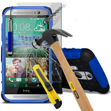HEAVY DUTY SHOCKPROOF & TEMPERED GLASS SET CASE COVER FOR HTC One M8