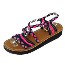 LADIES PINK LOW WEDGE GLADIATOR STRAPPY SUMMER SANDALS FLIP-FLOP SHOES SIZES 3-8