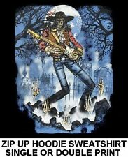 SKELETON ROCK N ROLL STAR SKULL GUITAR TOMBSTONE ZIP HOODIE SWEATSHIRT WS146