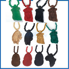 12CHOICE WOOD JESUS AFRICAN MAP ROSARY BEAD CHAIN WOODEN HIPHOP PENDANT NECKLACE