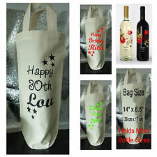 Personalised wine Bottle bag, wine carrier, wine gift bag, birthday, own design