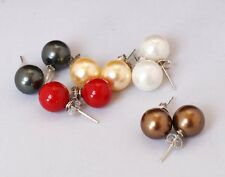 New Lady Round 8mm 18K Gold Plated Sea Shell Pearl Dangle Earring Stud Jewelry