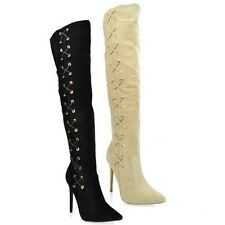 Black Nude Thigh high Suede Boots Stiletto Heel Pointy toe Women's shoes