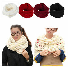 New Women Winter Warm Knit Cable Cowl Neck Soft Long Wrap 2 Circle Scarf Shawl