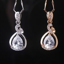 18K White Gold Filled Pear Drop White Sapphire Pendant Necklace Chain Jewelry