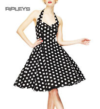 HELL BUNNY Polka Dot 50s Dress MARIAM Pin Up Prom Black White All Sizes