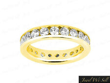 Natural 3.00Ct Round Diamond Classic Channel Set Eternity Ring 14K Gold G SI1