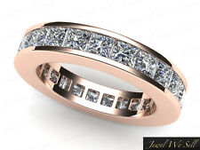 3.75Ct Princess Diamond Classic Channel Set Eternity Band Ring 18K Gold H SI2
