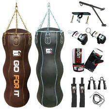 New 4.5Ft 100% Real Leather Triple Boxing Bag Uppercut Punch Bag in Black Brown