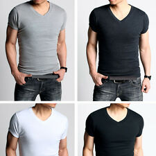 Slim Fit Mens T-Shirt Basic Tee GYM Sports Tee V neck Flat Well Aerated Soft NEW