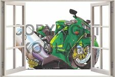 Huge 3D Koolart Window view Kawasaki Zx-12R Wall Sticker Poster 1152