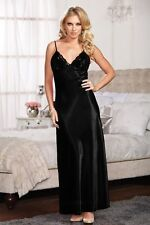 Sexy Sleepwear Nightgown Christmas Dress Long Satin Lace Babydoll Lingerie S-3X