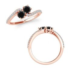 1 Ct Black Diamond 2 Two Stone By Pass Solitaire Engagement Ring 14K Rose Gold