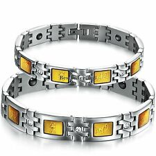 Silver Stainless Steel Link Chain Magnetic Bracelet Mens Womens Couples Gifts