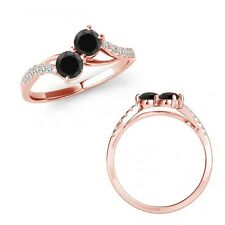 0.75 Ct Black Diamond 2 Two Stone By Pass Solitaire Wedding Ring 14K Rose Gold
