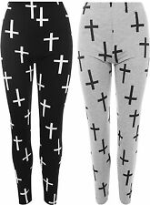 New Plus Size Womens Cross Print Full Ankle Leggings Ladies Stretch Pants 12- 26