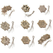 10pcs Unpainted Wood Snowflake Embellishment Xmas Tree Party Hanging Ornaments