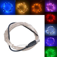 10m USB 5V LED String Light Copper Wire Christmas Tree Party Outdoor Waterproof