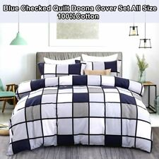 Checked Quilt/Doona Cover Set New Cotton Single/Double/Queen/King Size Bed Linen